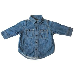 babyGAP Chambray Long Sleeve Button Up Shirt Lined